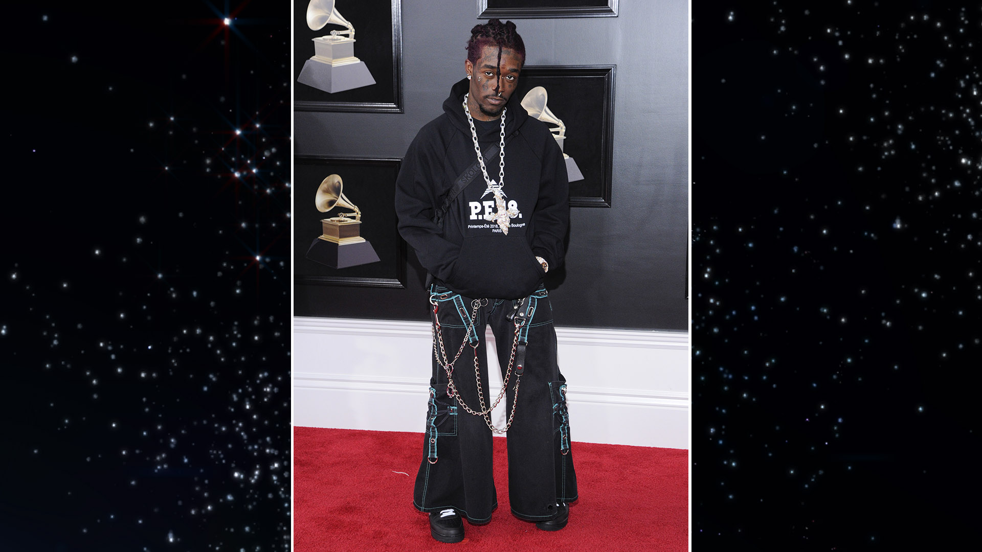 Best New Artist nominee Lil Uzi Vert gives us all sorts of '90s raver flashbacks with this wide-legged ensemble.