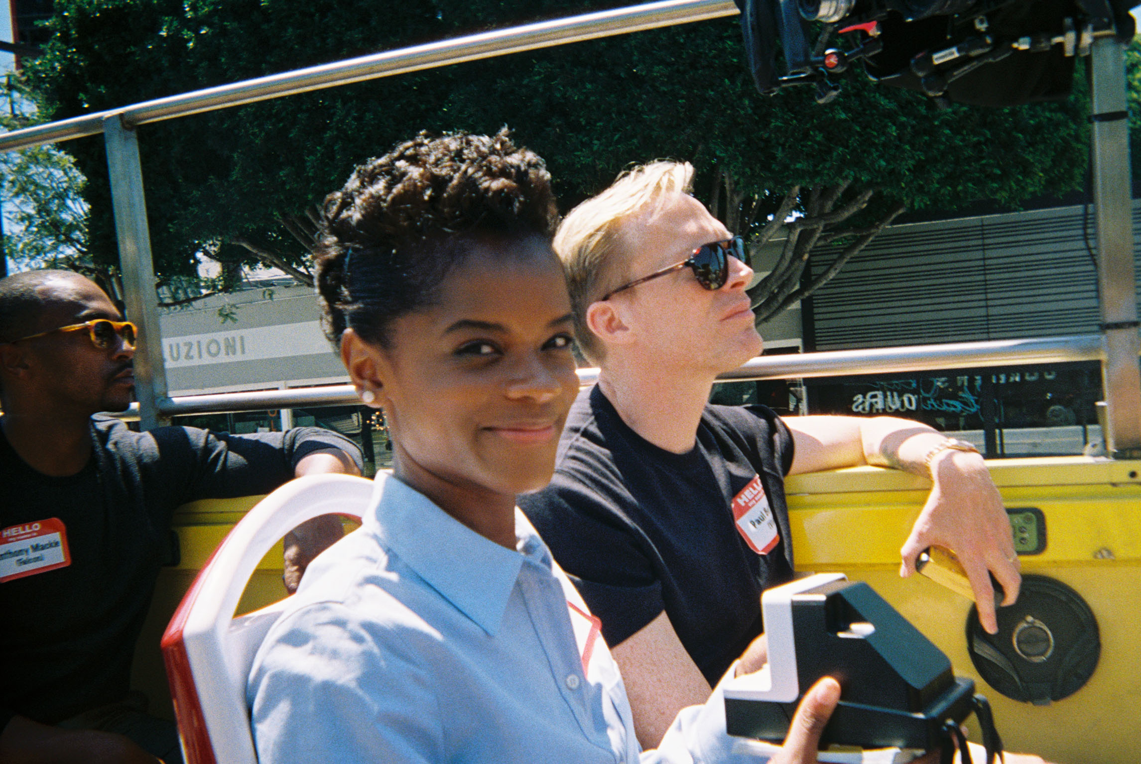 Anthony Mackie, Letitia Wright and Paul Bettany