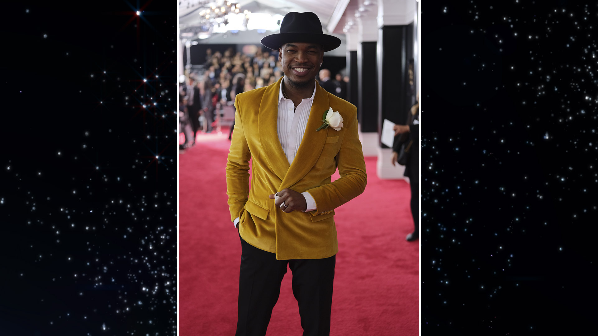 Ne-Yo kicked back in a mustard velvet smoking jacket and his signature fedora on the GRAMMY red carpet.