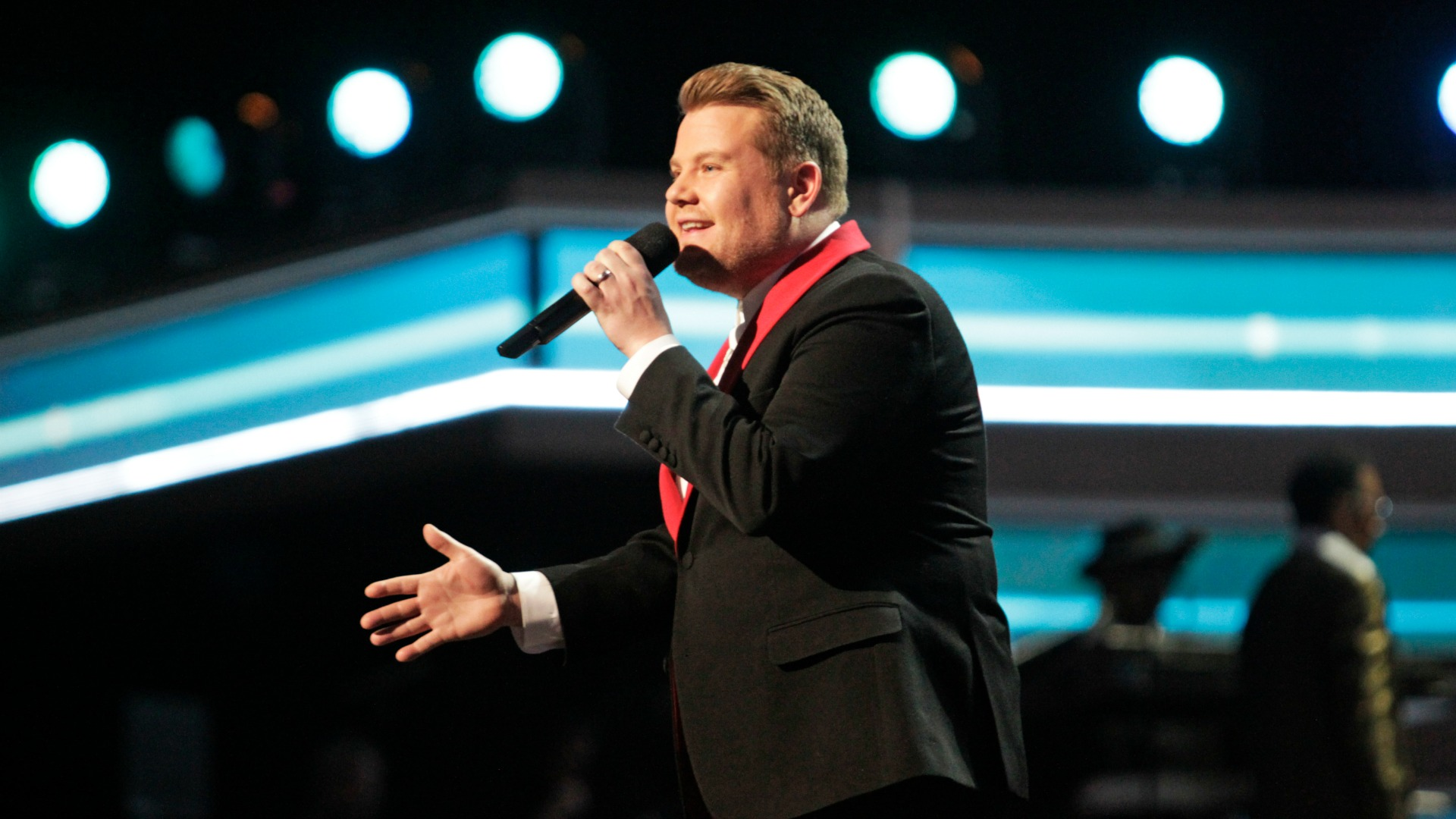 Here's James Corden JUST before he made the classic mistake of confusing Recording Academy Neil Portnow with Kanye West.
