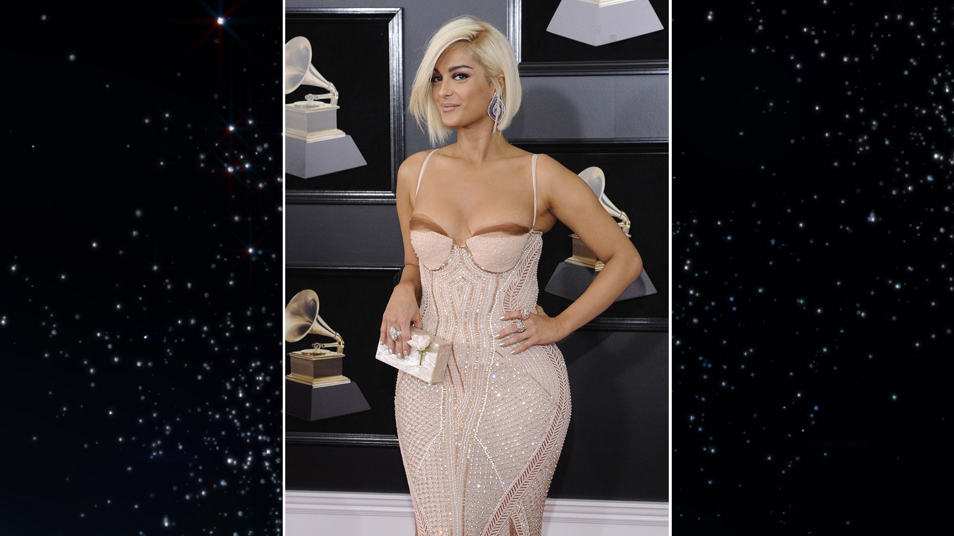 Pop singer Bebe Rexha debuts a short new 'do on the GRAMMY red carpet before joining Kesha for a heartfelt rendition of