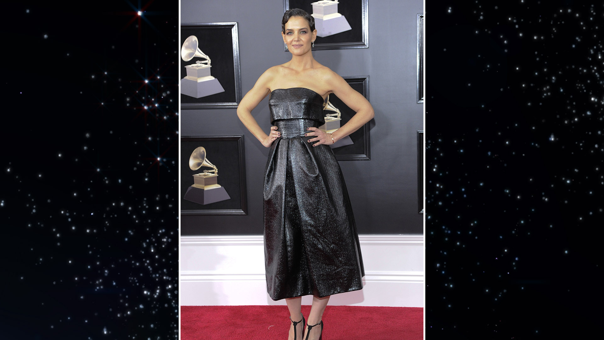 Actress Katie Holmes dons a strapless metallic party dress to Music's Biggest Night.