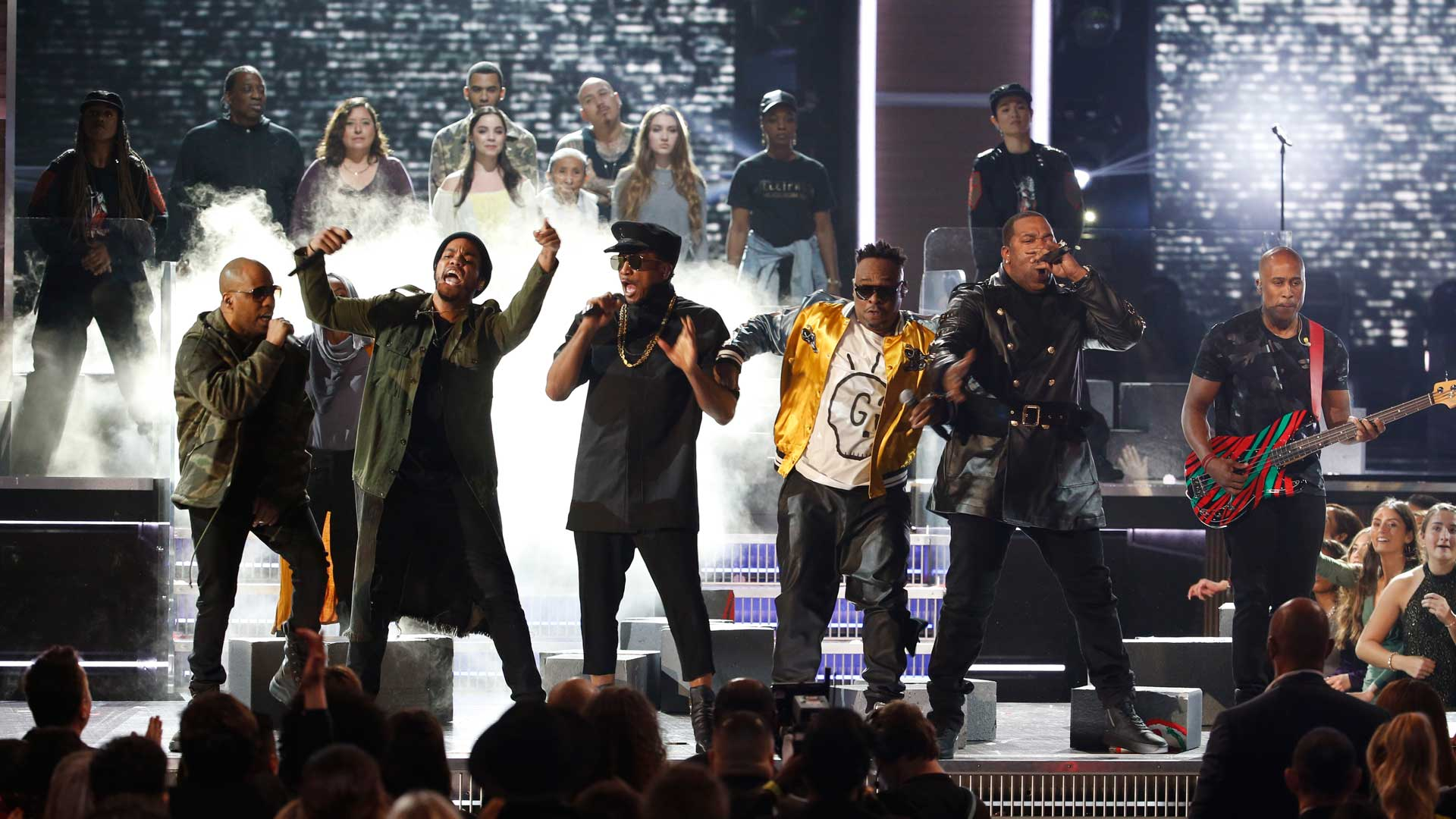A Tribe Called Quest, Anderson .Paak, and Busta Rhymes perform a medley of