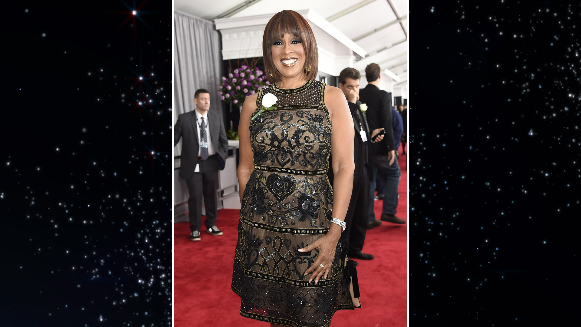 CBS This Morning co-anchor Gayle King looks chic in a sleek bob on the 60th Annual GRAMMY Awards red carpet.