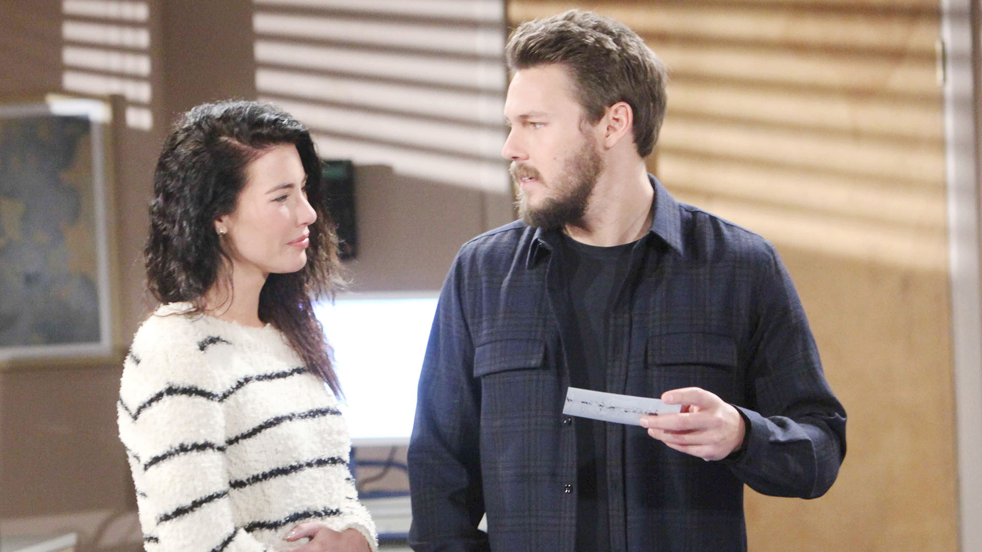 Liam and Steffy share a special moment during her first ultrasound appointment with Dr. Phillips.