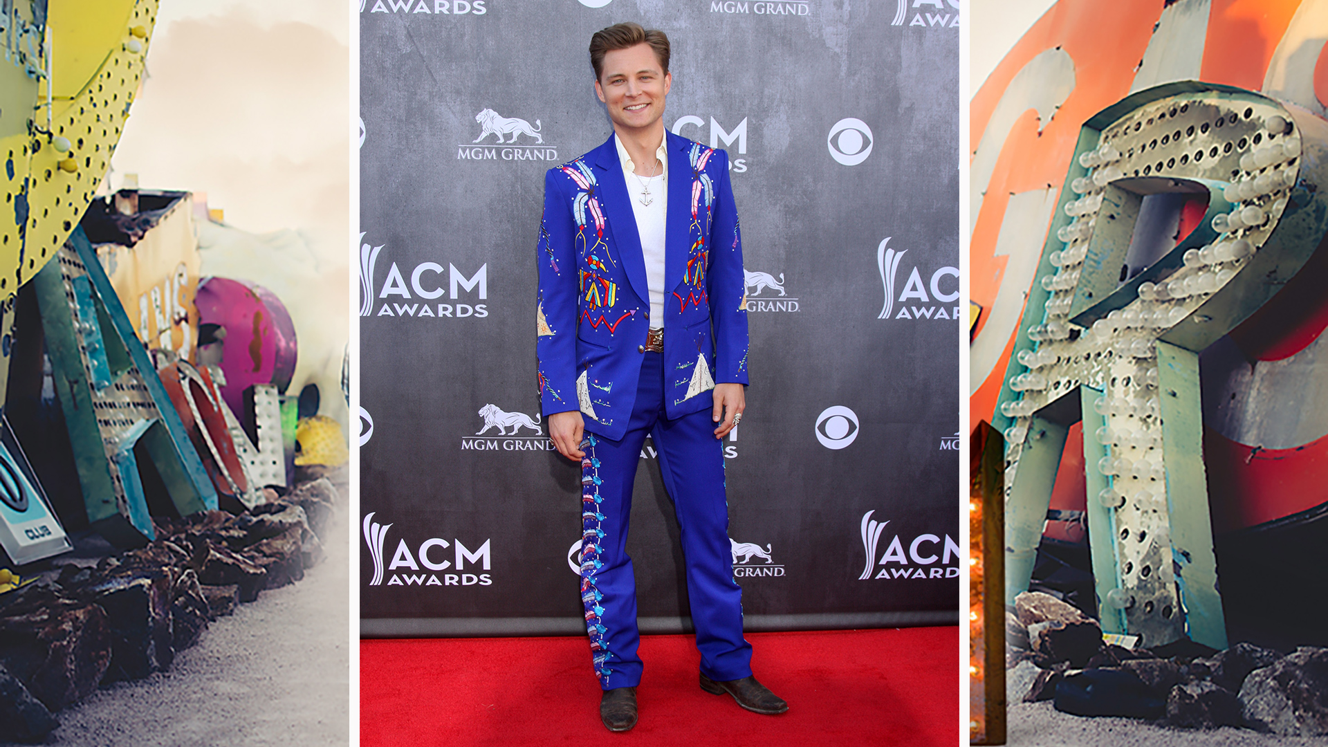 Frankie Ballard dances through the night in electric blue threads.