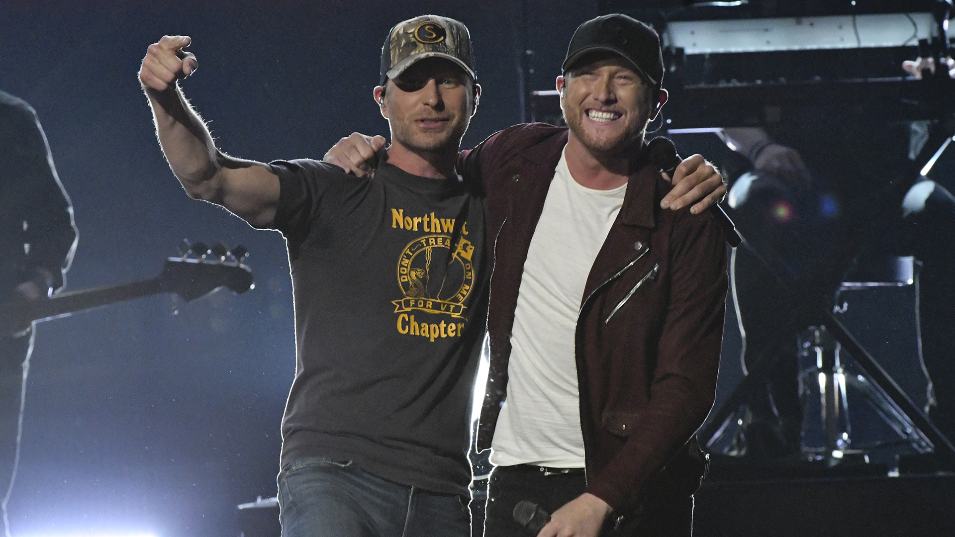 Cole Swindell and Dierks Bentley perform