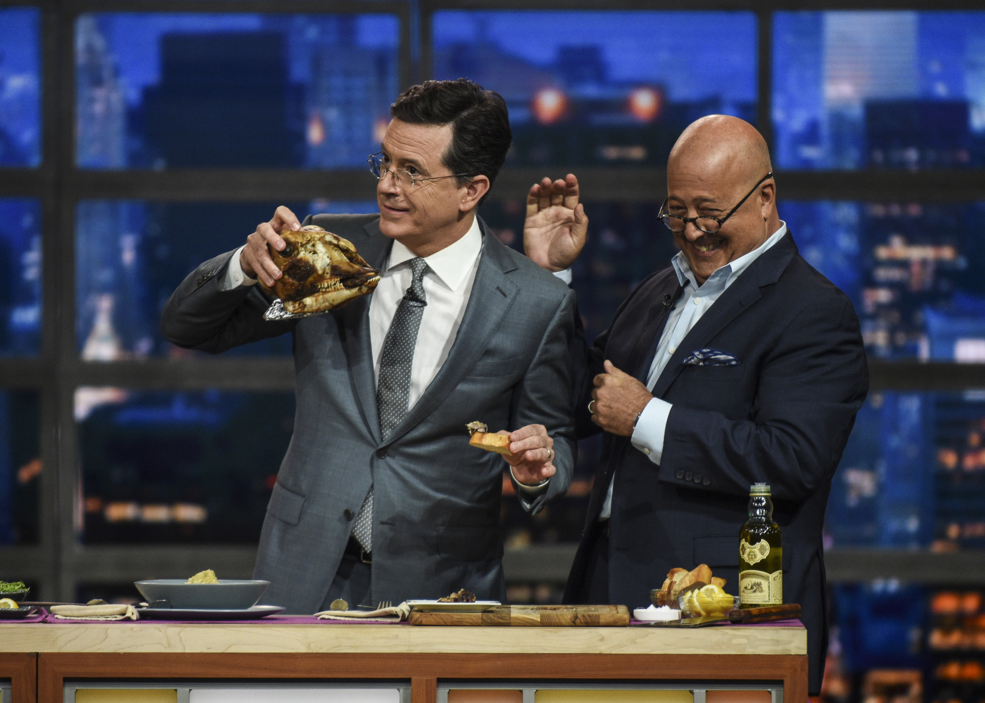 Andrew Zimmern Gets Stephen To Eat Brains