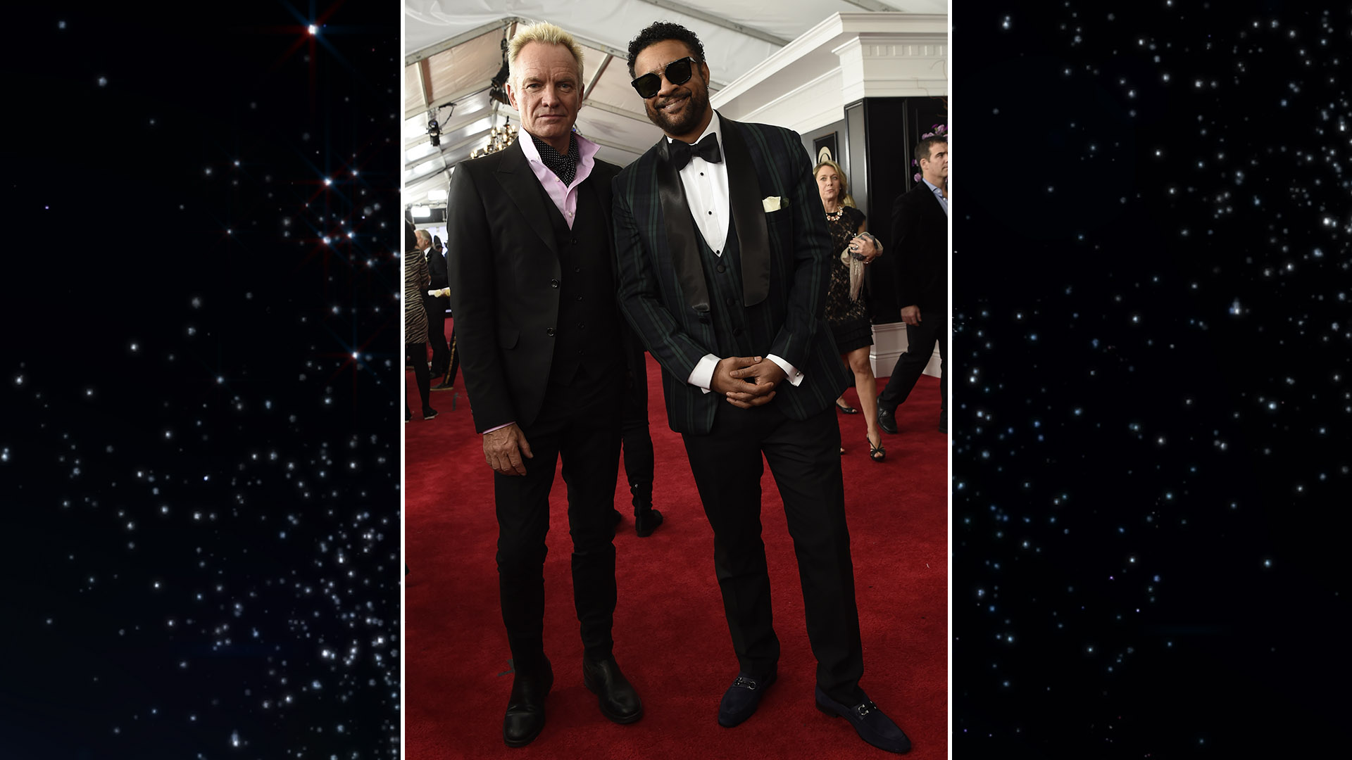 Sting and Shaggy look equally suave on the 60th Annual GRAMMY Awards red carpet.