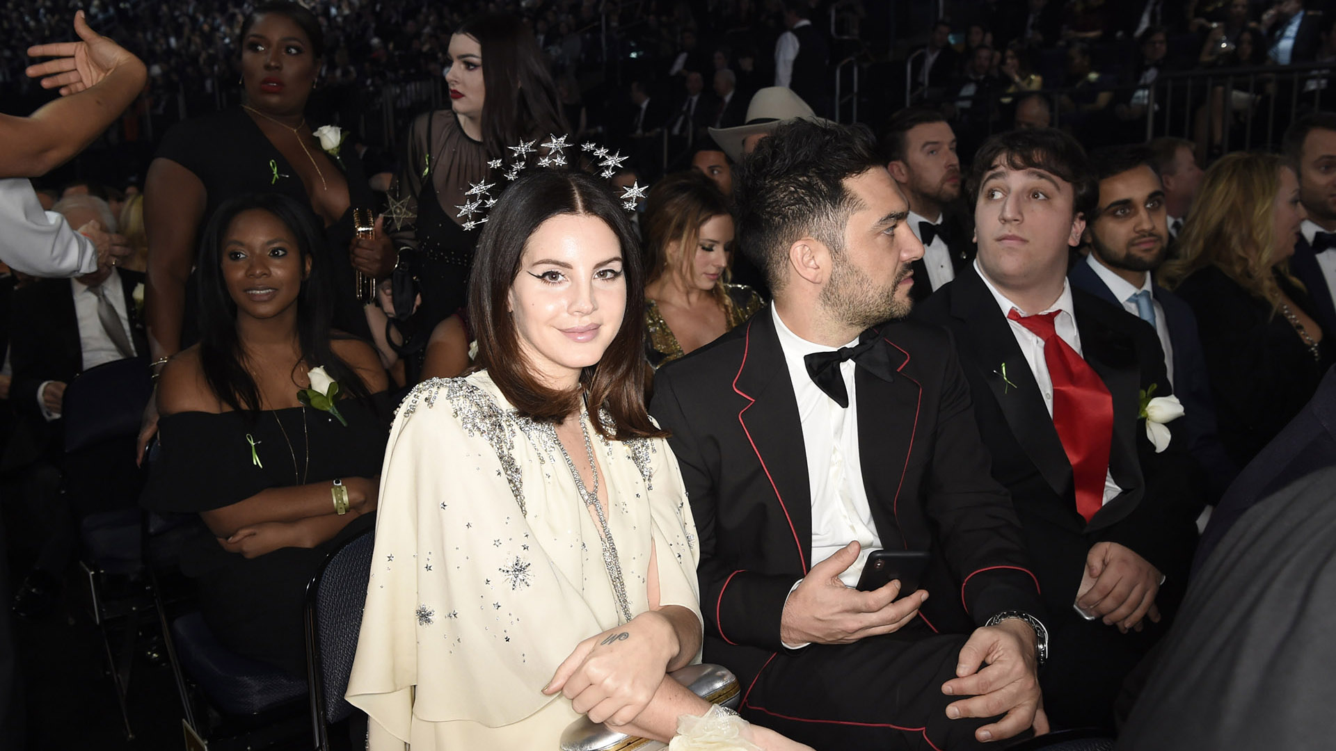 Best Pop Vocal Album nominee Lana Del Rey looks positively angelic in a starry crown while seated at the 60th Annual GRAMMY Awards.