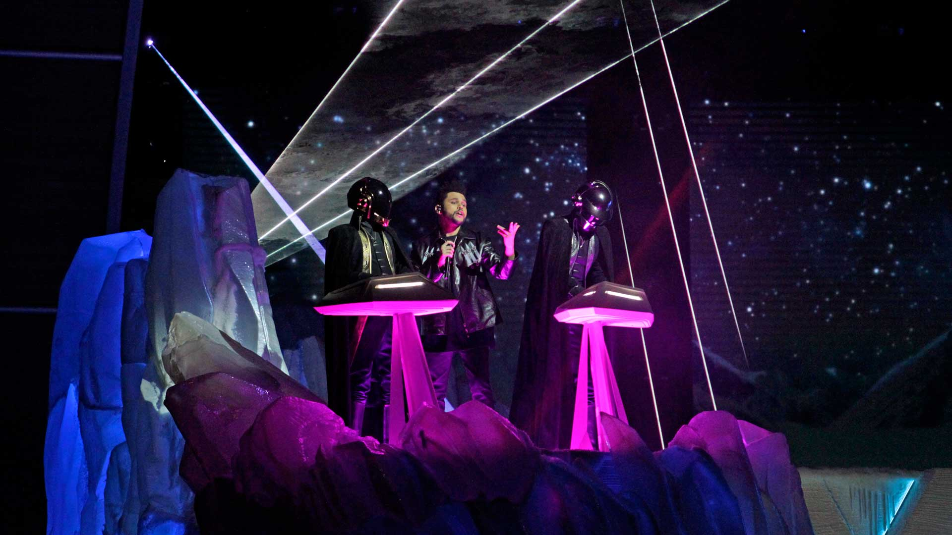 The Weeknd featuring Daft Punk perform