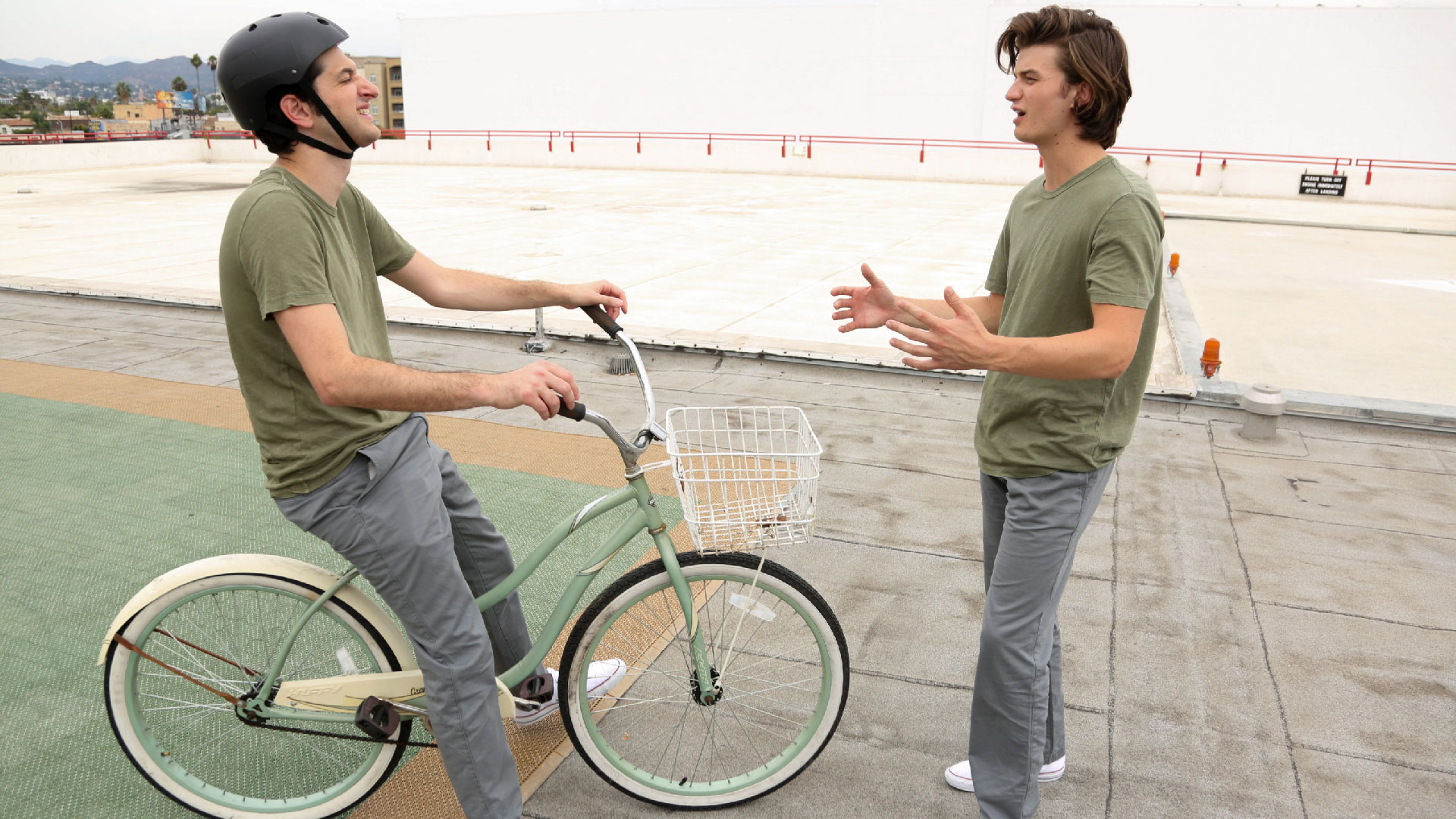 Gearing up for the huge bicycle stunt