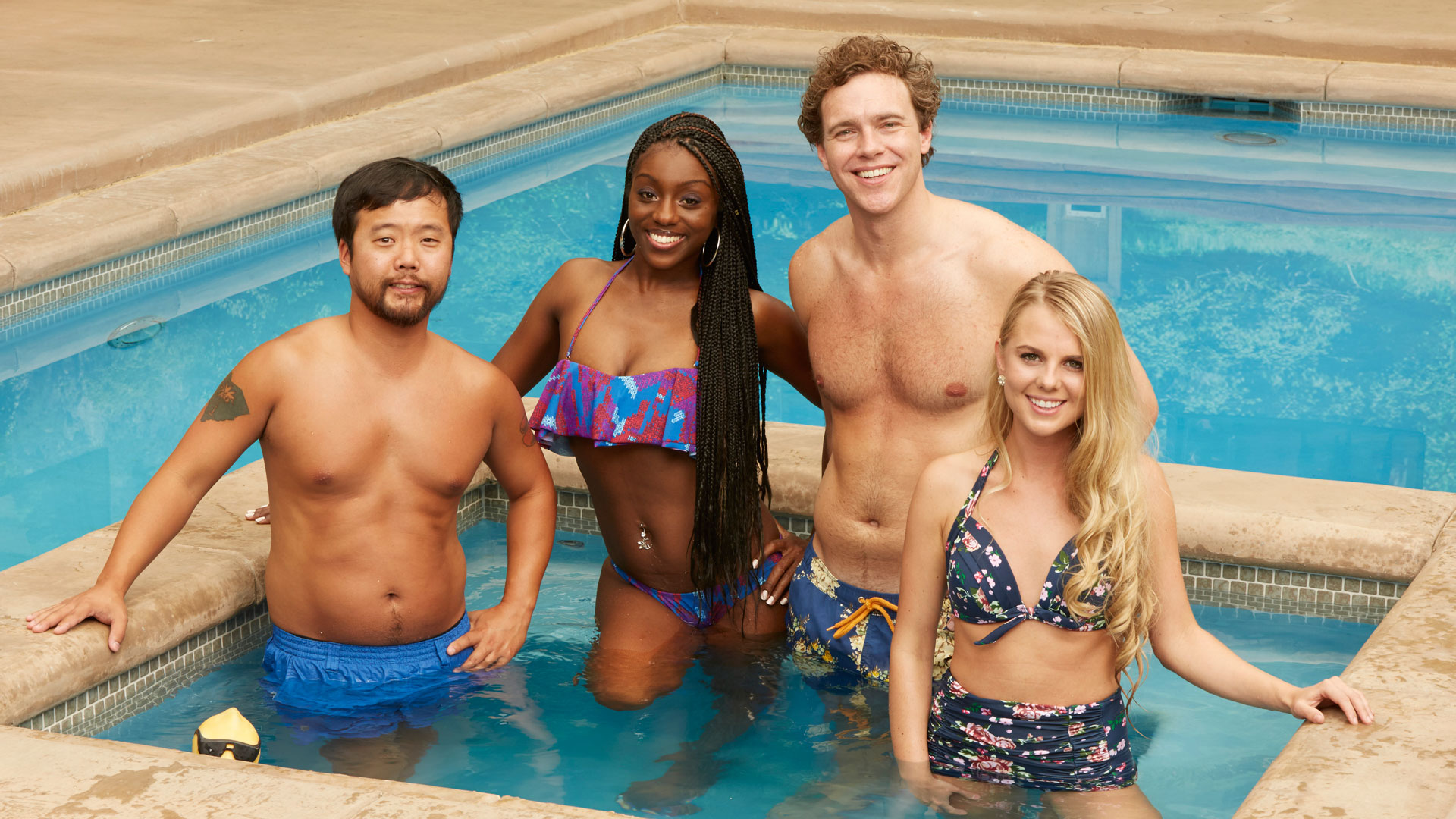 The returning Houseguests keep cool in a new pool area in the Big Brother backyard.