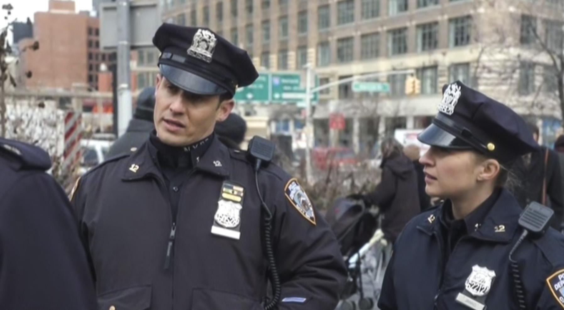 Will Estes as Officer Jamie Reagan and Vanessa Ray as Officer Edit Jenko