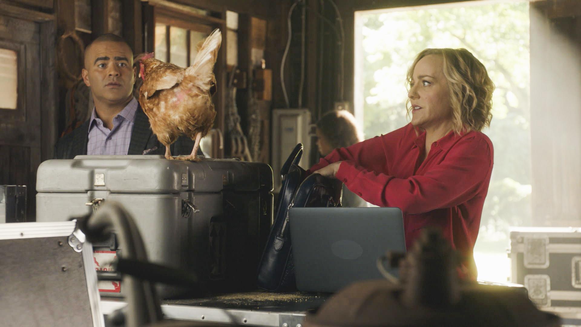 Chunk Palmer and Marissa Morgan meet a friendly fowl in Texas.