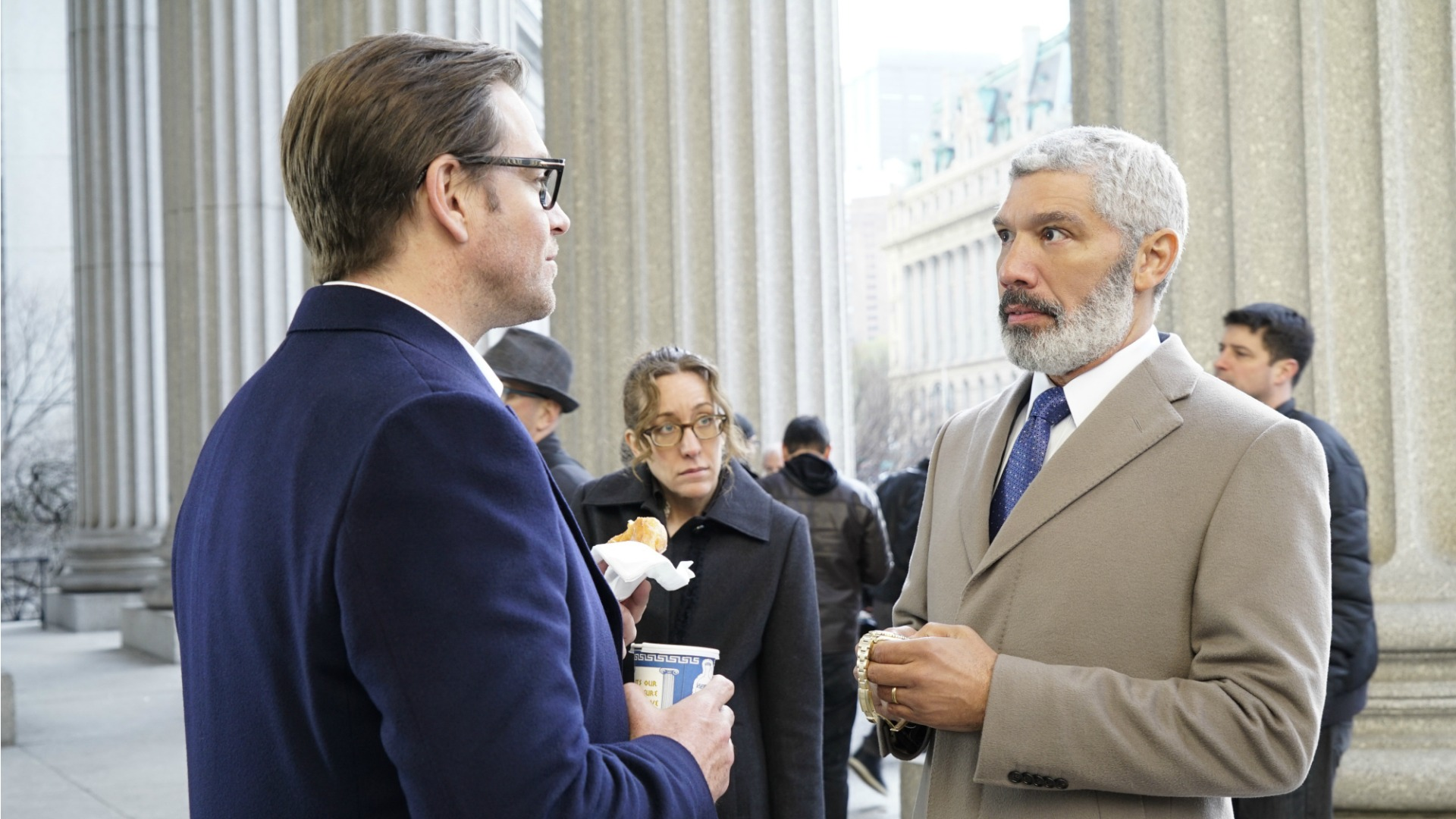 Dr. Bull speaks with his client's lawyer.
