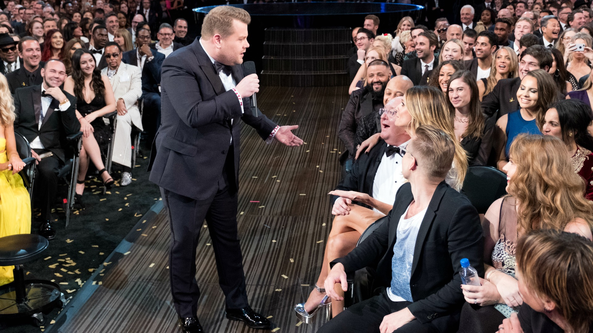 James Corden was shocked to find model Heidi Klum—instead of his mum—sitting on his dad Malcolm's lap.