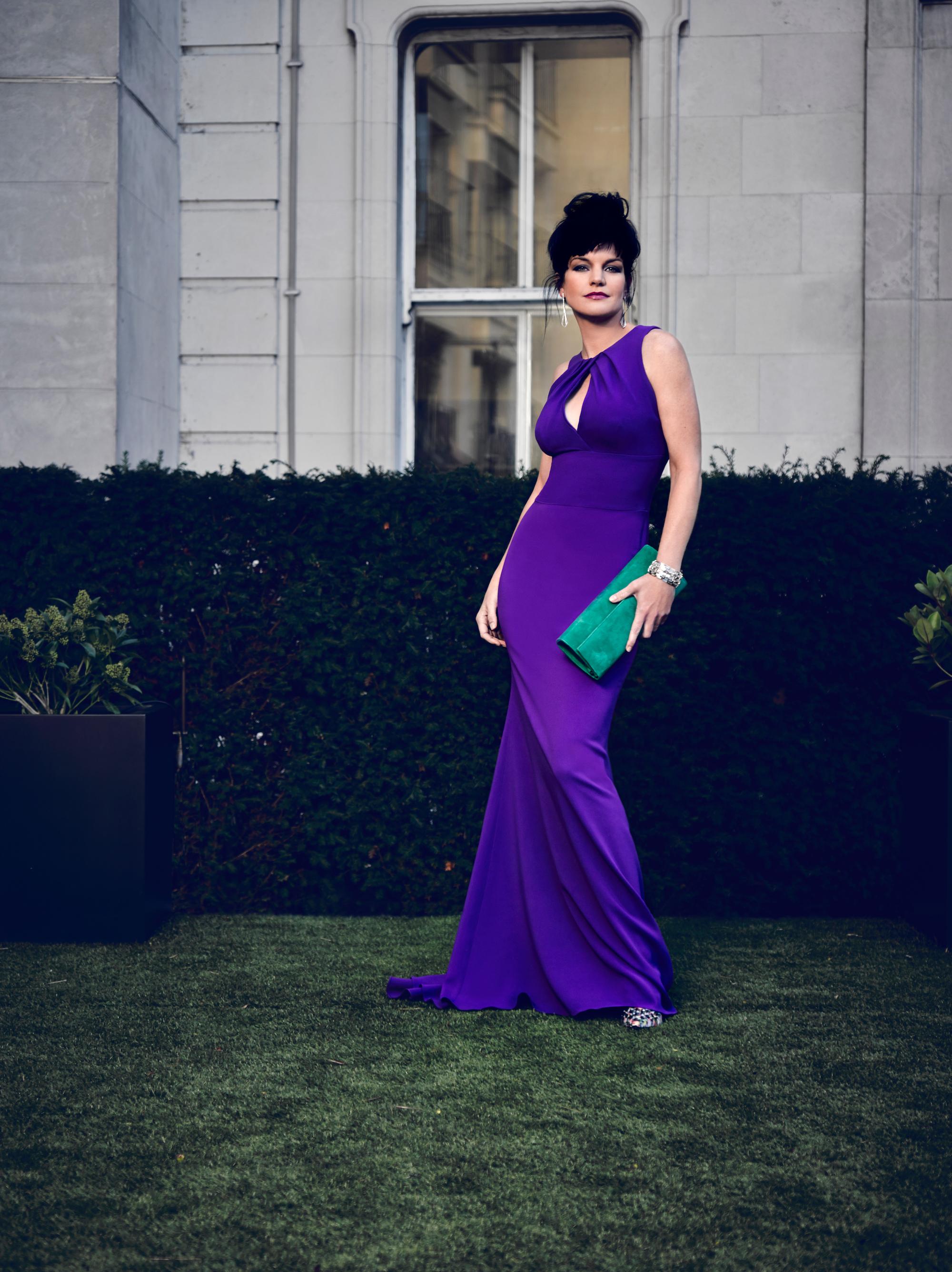Pauley looks vivacious in violet