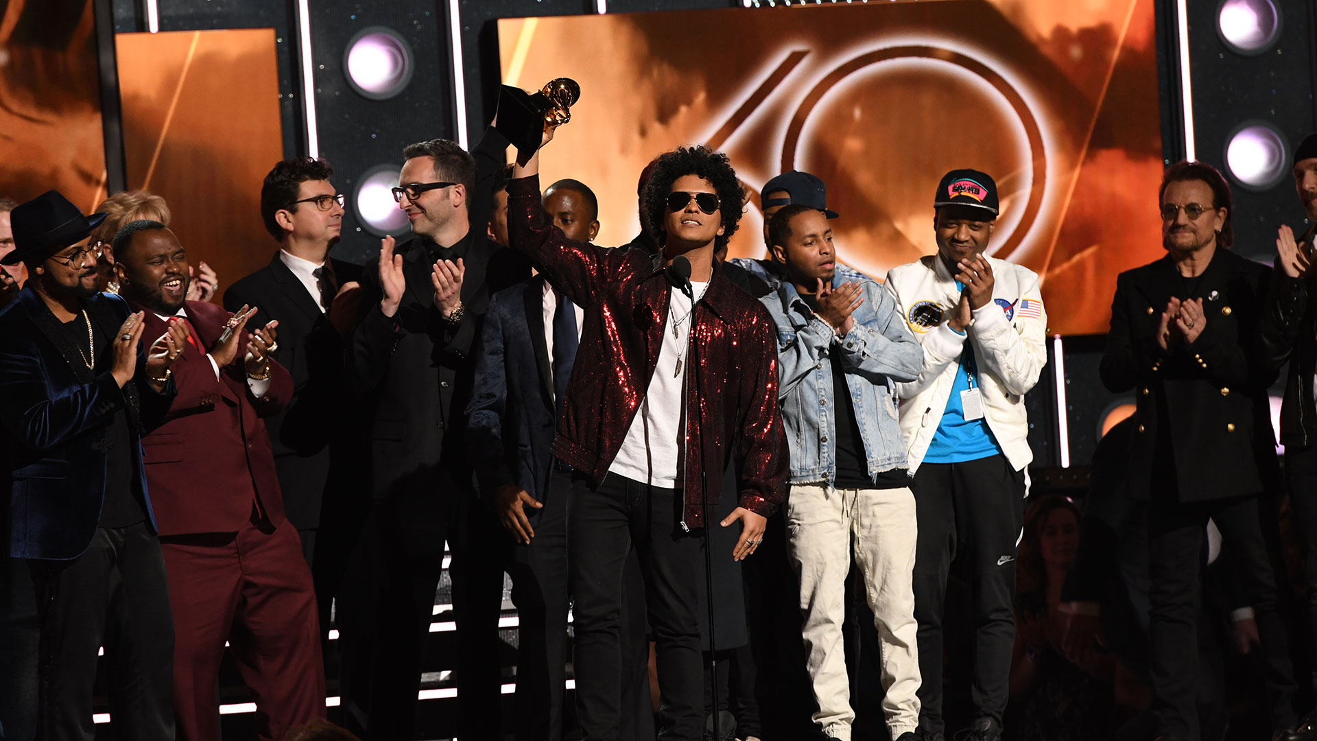 Bruno Mars wins Album of the Year for 24K Magic at the 60th Annual GRAMMY Awards.