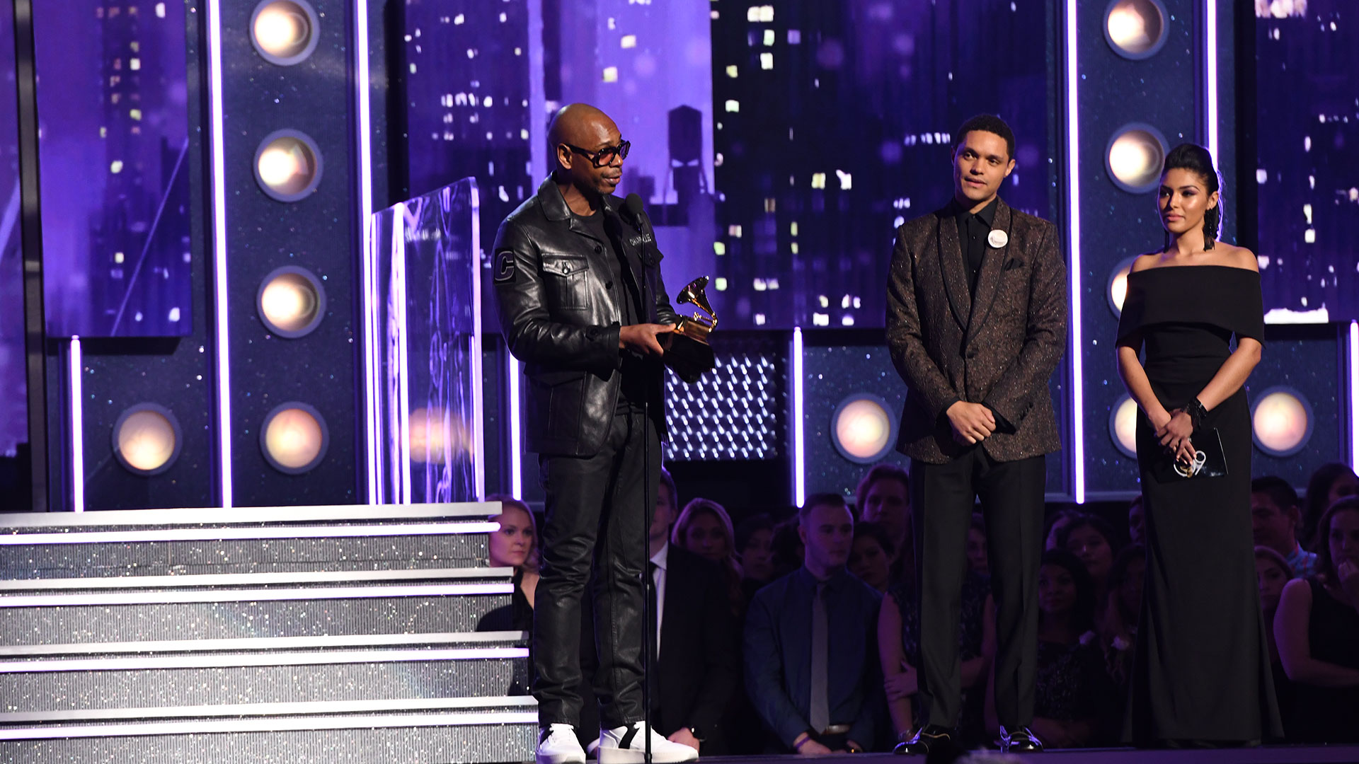 Dave Chappelle wins Best Comedy Album for The Age of Spin and Deep in the Heart of Texas at the 60th Annual GRAMMY Awards.