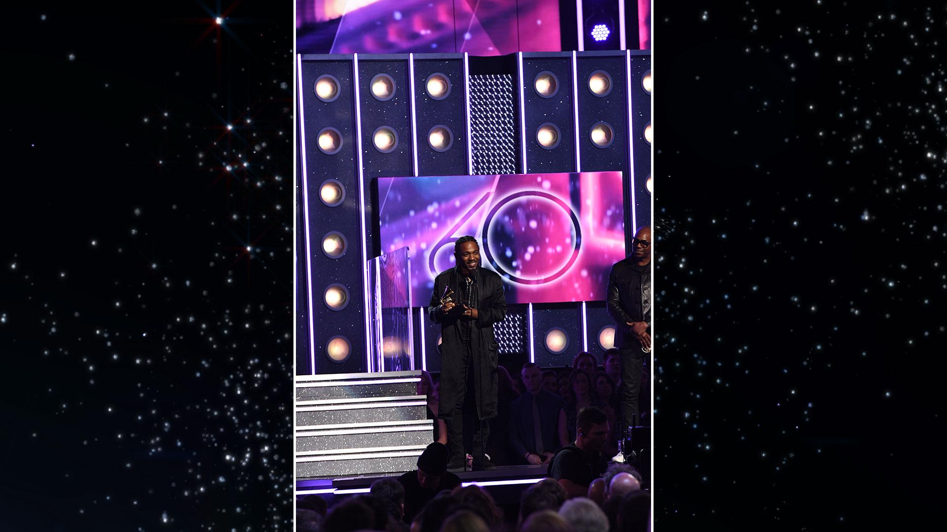 Kendrick Lamar wins Best Rap Album for DAMN. at the 60th Annual GRAMMY Awards.