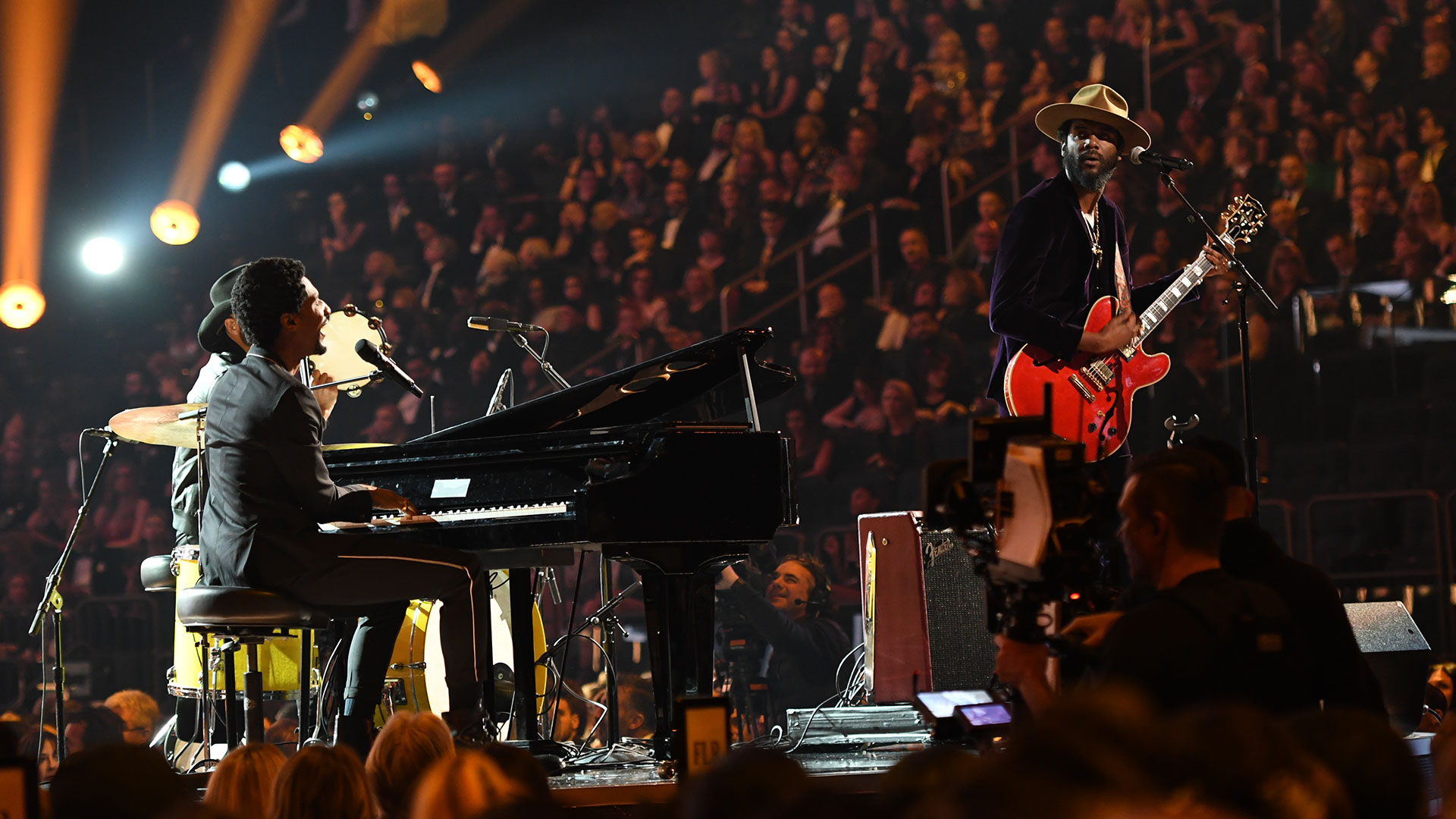 Gary Clark Jr. and Jon Batiste pay tribute to rock pioneers Chuck Berry and Fats Domino with a bluesy medley of