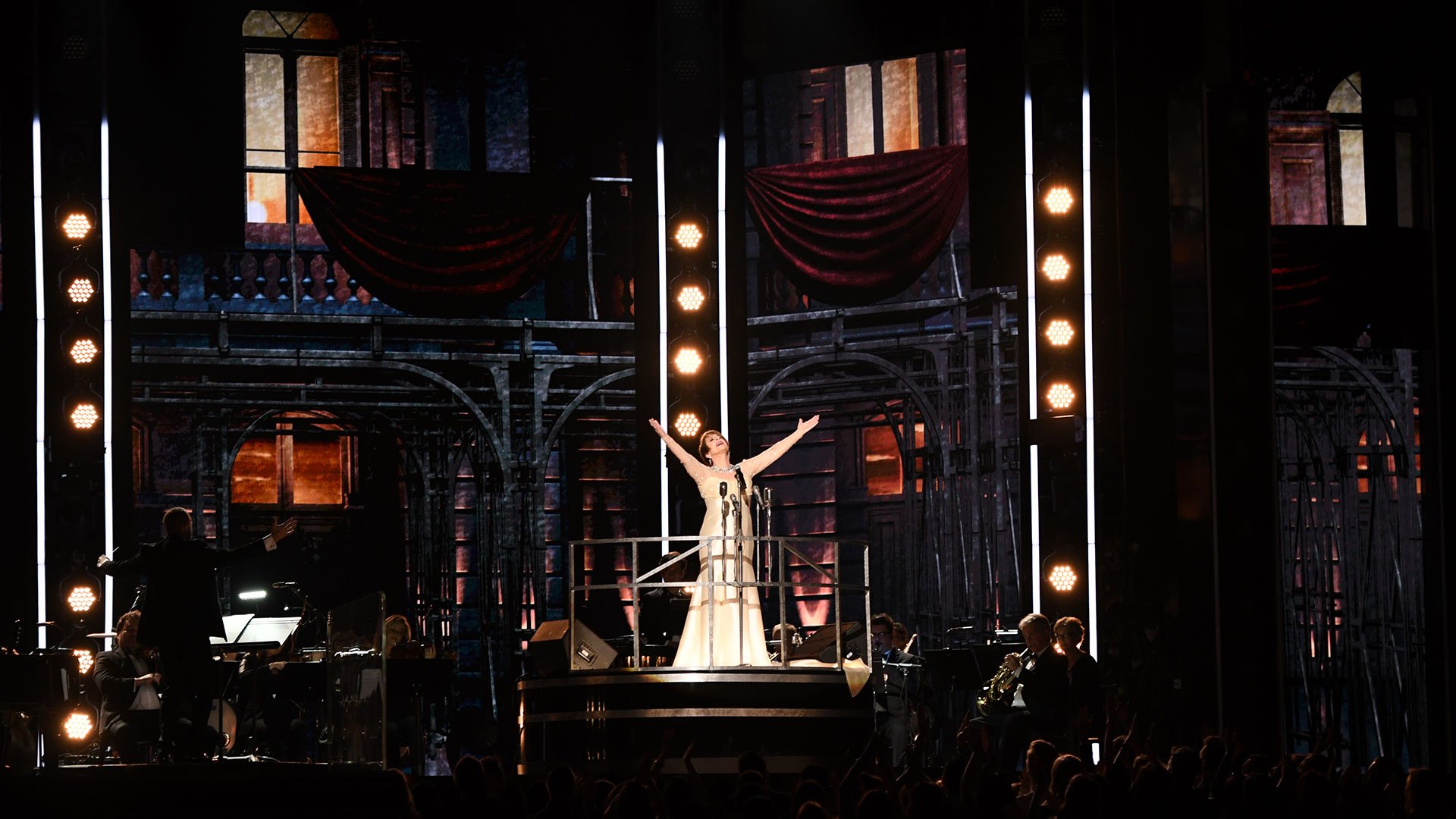 """Patti LuPone pays tribute to iconic Broadway composer Andrew Lloyd Webber with a performance of """"Don't Cry For Me Argentina"""" from Evita."""