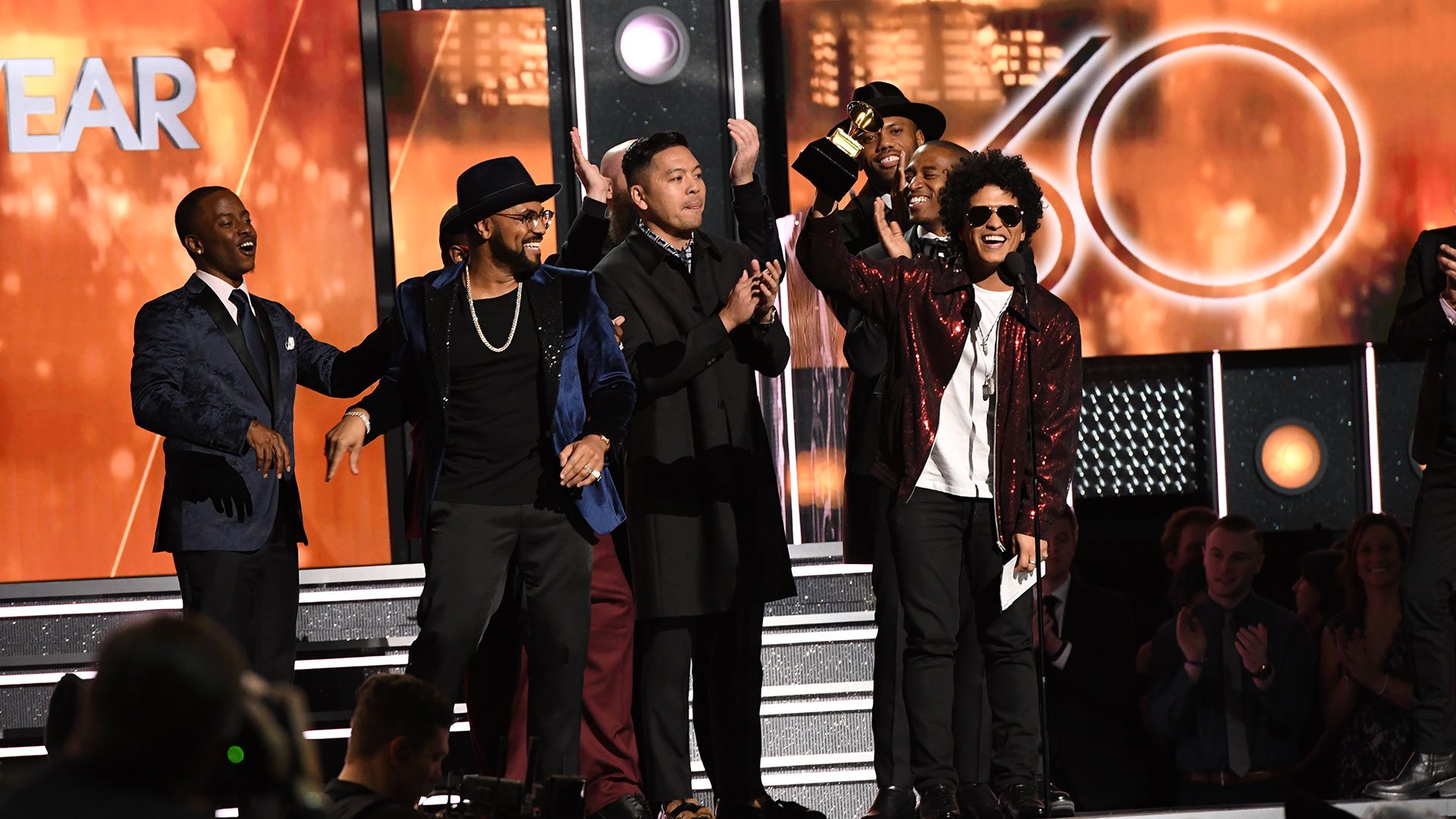 Bruno Mars wins Record of the Year for 24K Magic at the 60th Annual GRAMMY Awards.