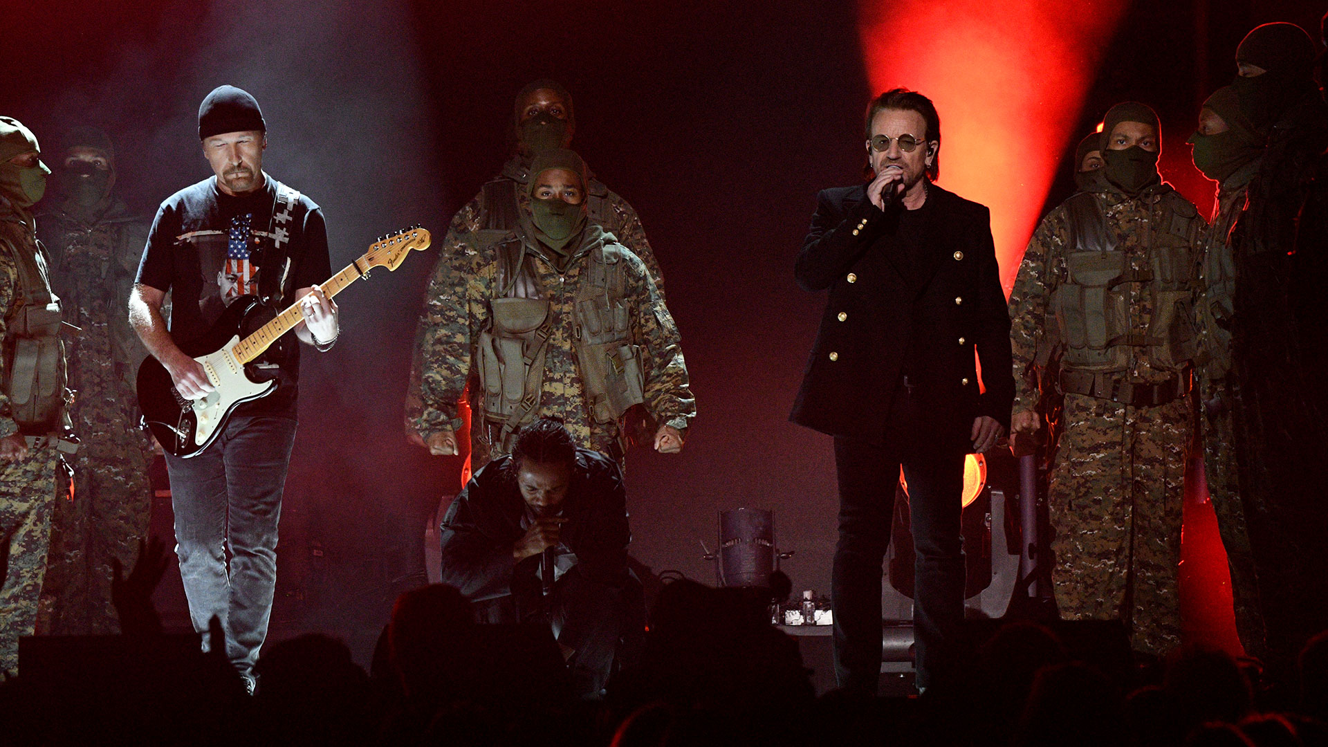 Kendrick Lamar opens the 60th Annual GRAMMY Awards with an assist from Dave Chappelle and Bono and The Edge of U2, performing