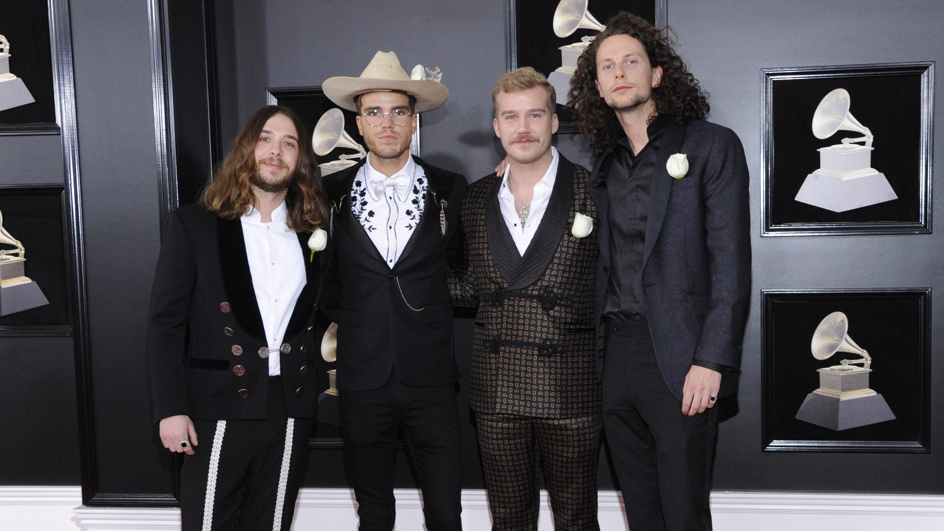 Icelandic blues-rock band Kaleo pose together before walking into Madison Square Garden.