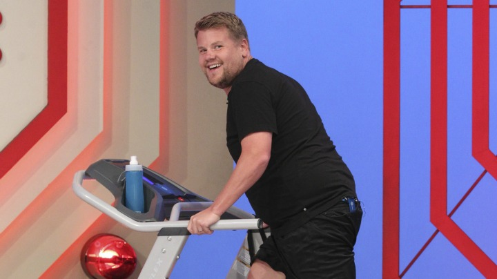 Corden sneaks in a quick workout.