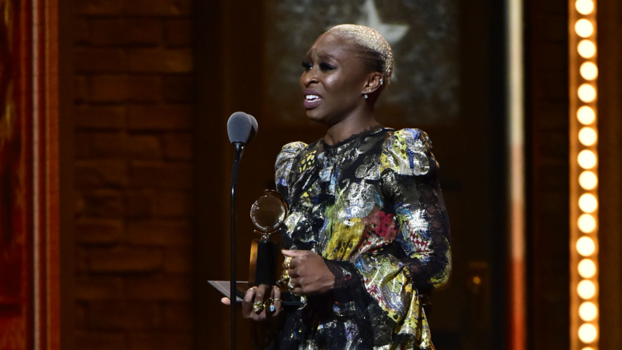 Cynthia Erivo wins the 2016 Tony Award for Best Performance by an Actress in a Leading Role in a Musical.
