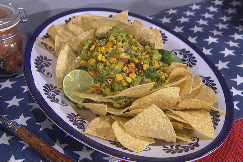 David Guas' Charred Guacamole with Grilled Corn