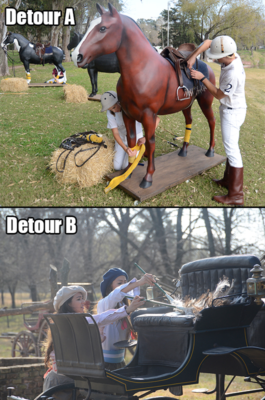 5. The teams giddy'd up and chose a detour.