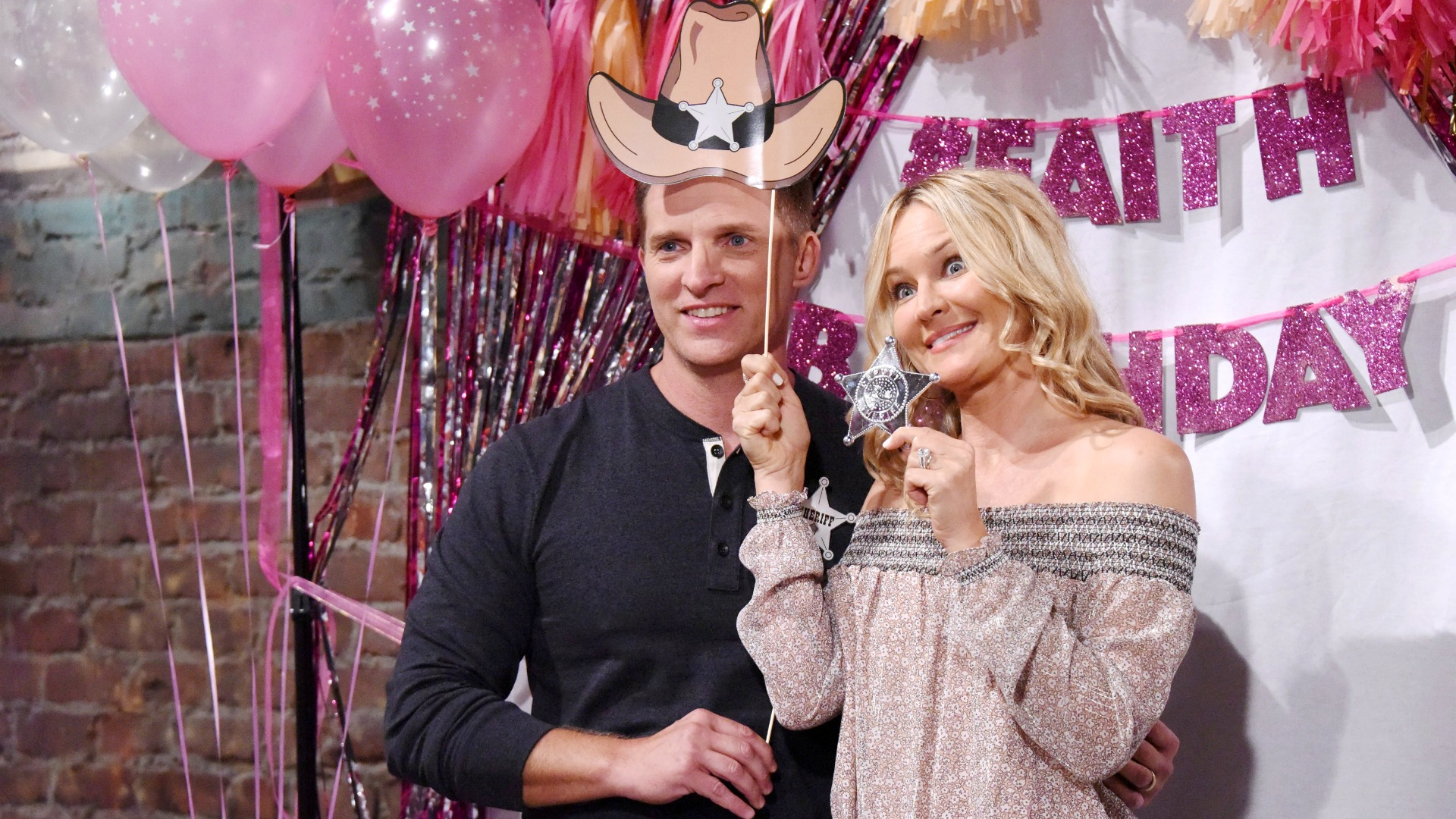 Dylan (Steve Burton) and Sharon (Sharon Case) kept law and order at the party.