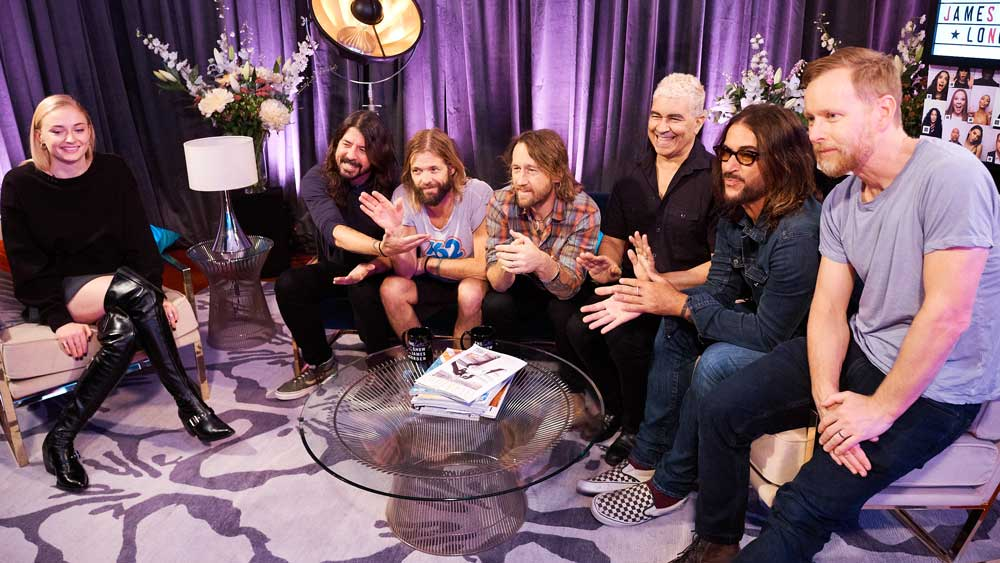 Sophie Turner and Foo Fighters hang out backstage before the show.