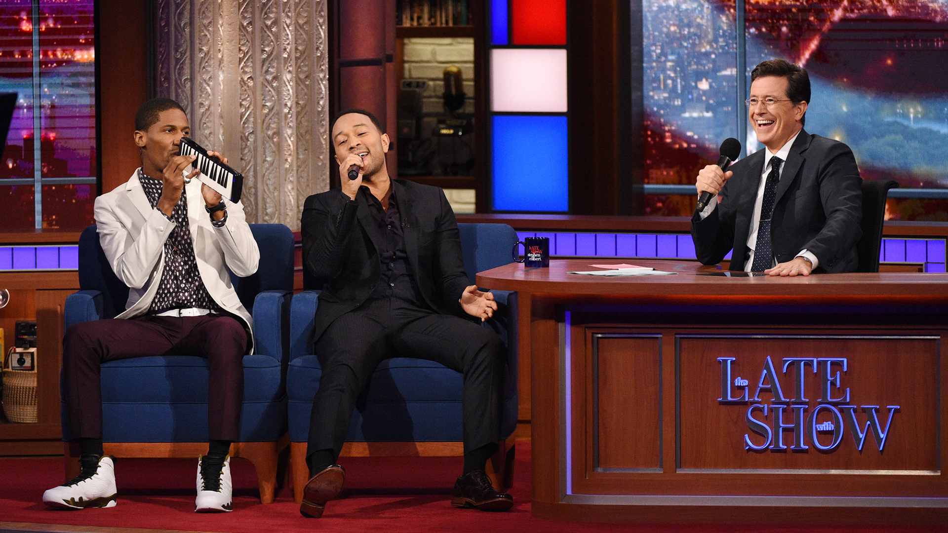 John Legend, Jon Batiste, and Stephen Colbert