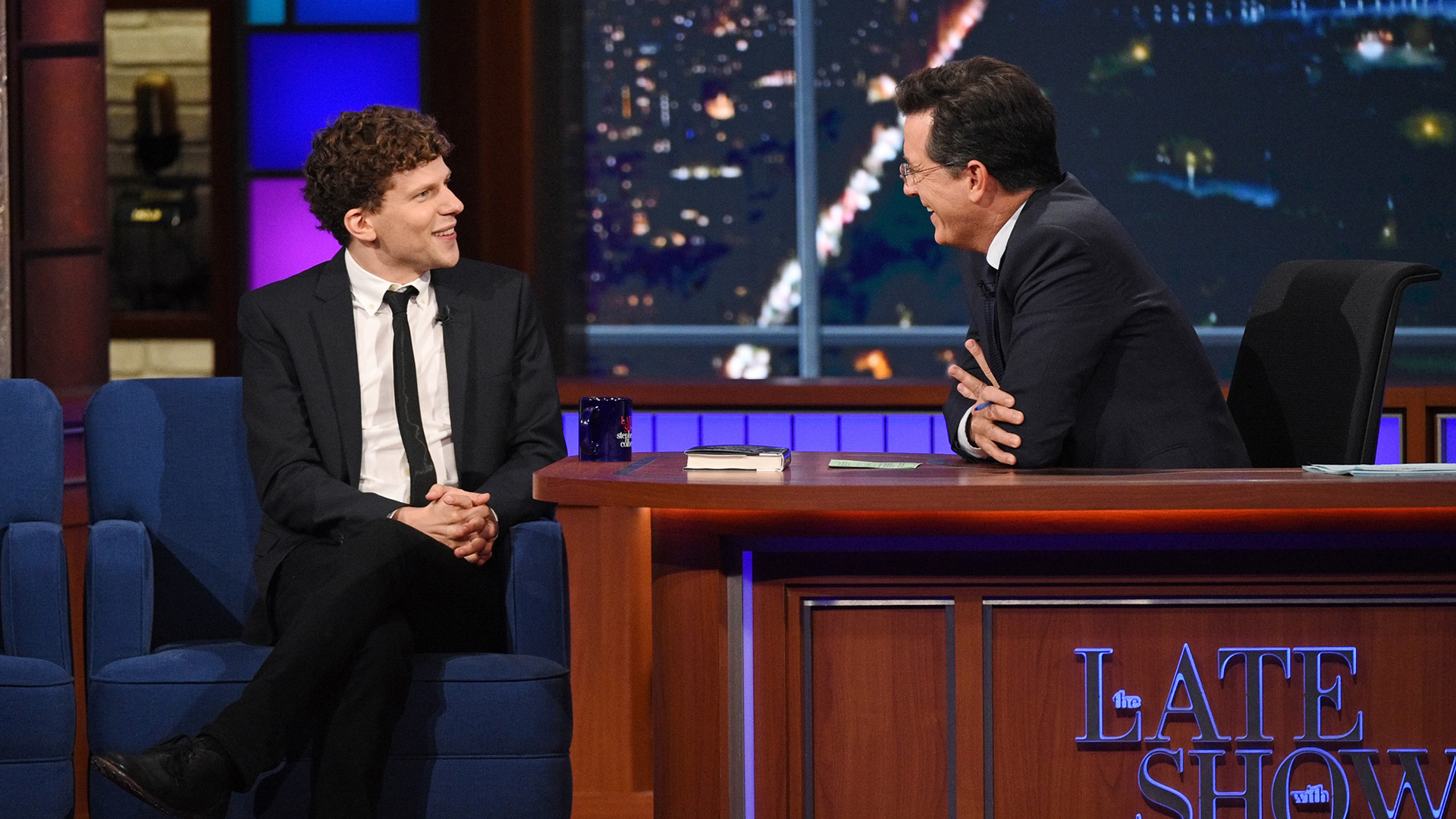 Jesse Eisenberg and Stephen Colbert