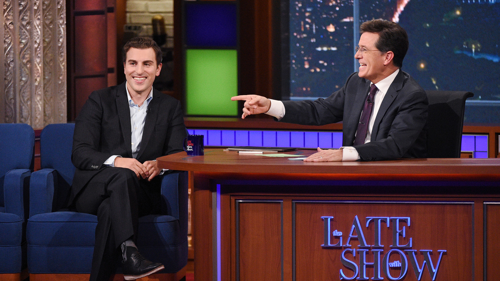 Brian Chesky and Stephen Colbert
