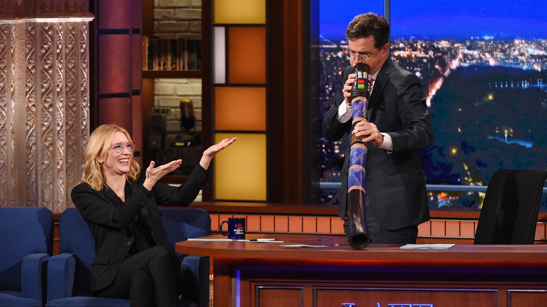 Cate Blanchett and Stephen Colbert