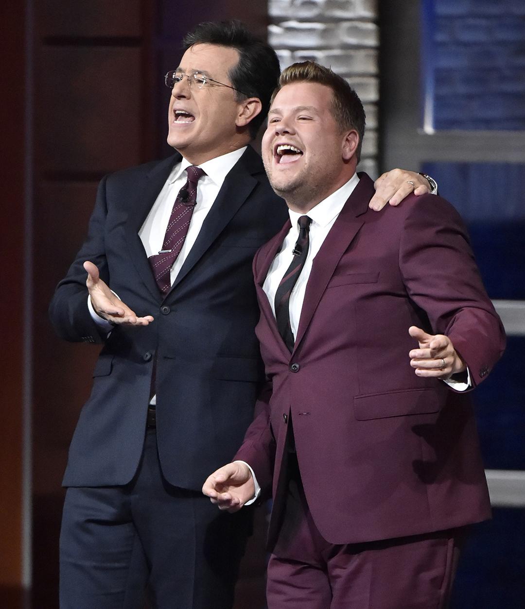 James Corden and Stephen Colbert