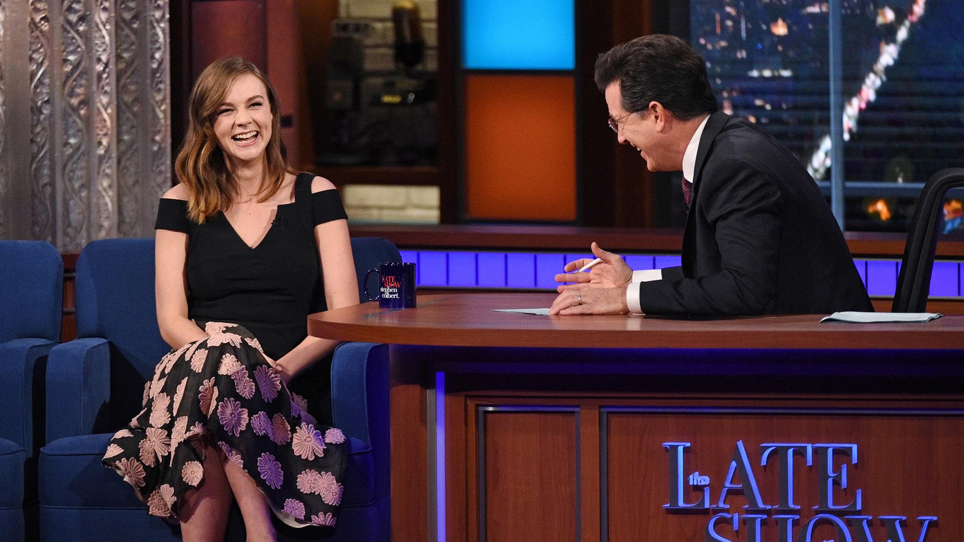 Carey Mulligan and Stephen Colbert