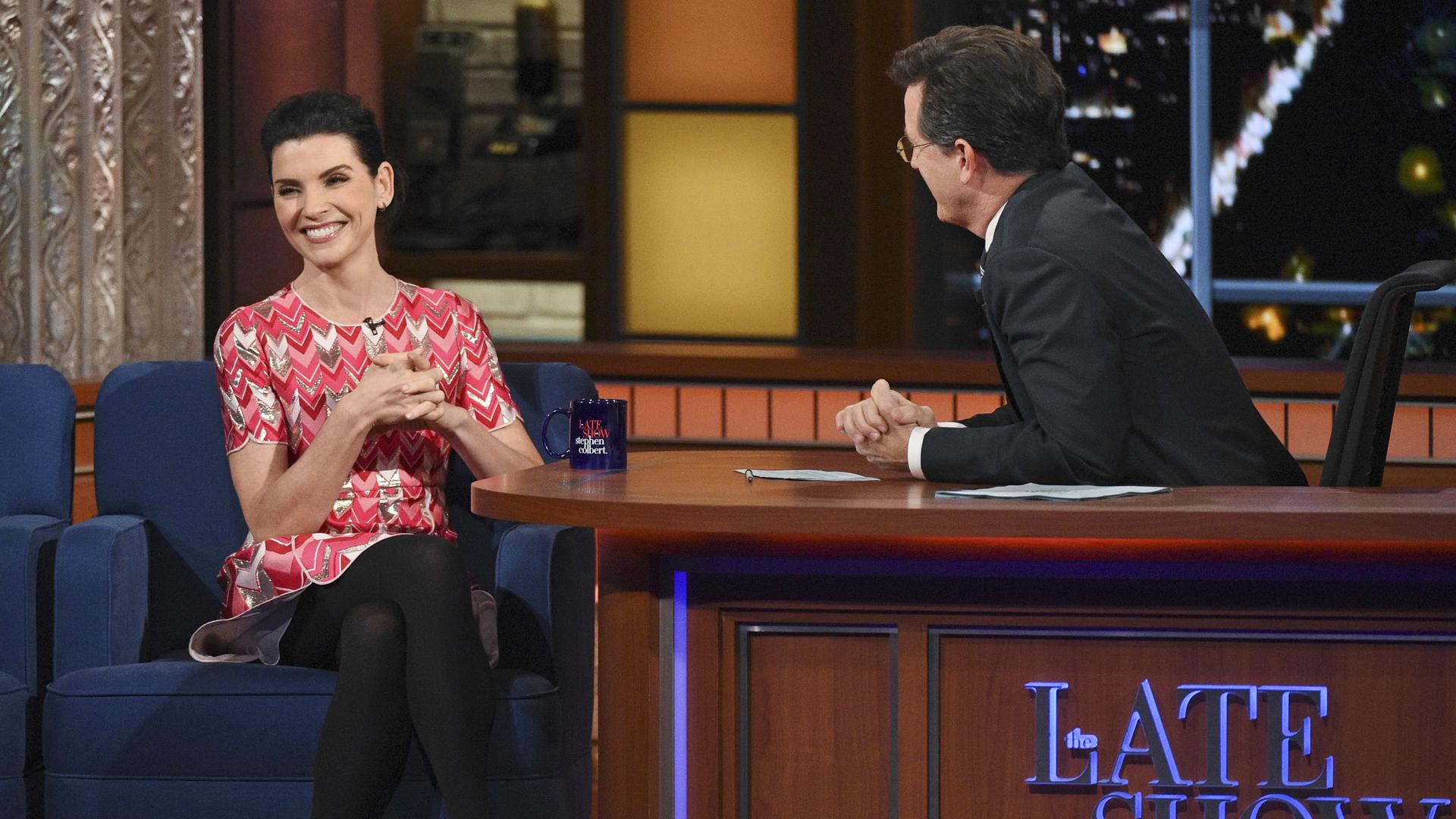Julianna Margulies and Stephen Colbert