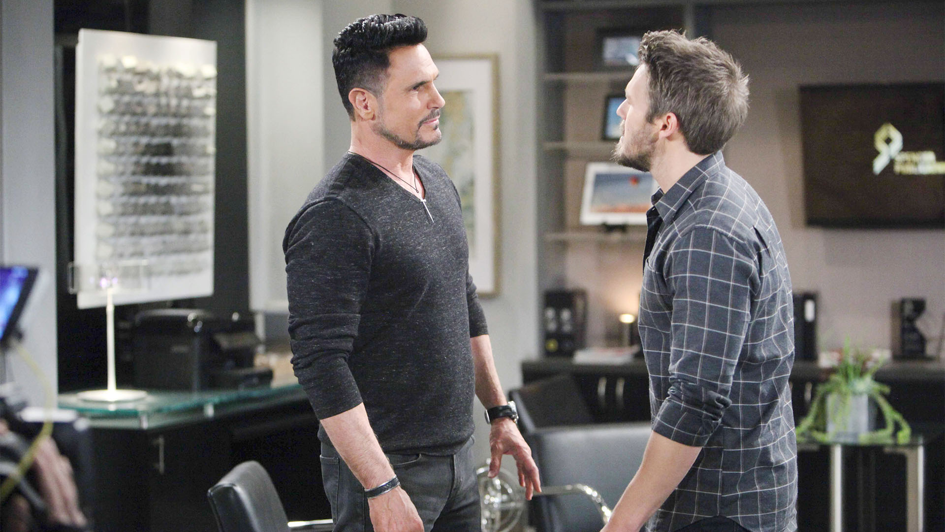 Angry and confrontational, Liam becomes the aggressor when he comes face-to-face with Bill.