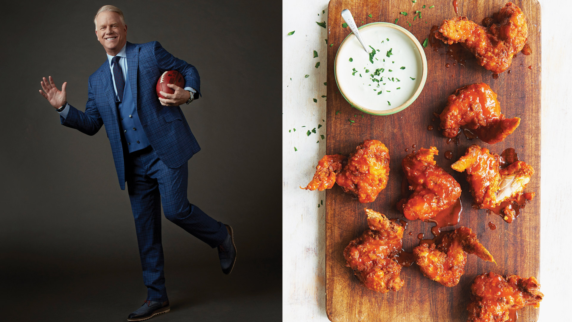 Boomer Esiason brings the heat—to his chicken wings.