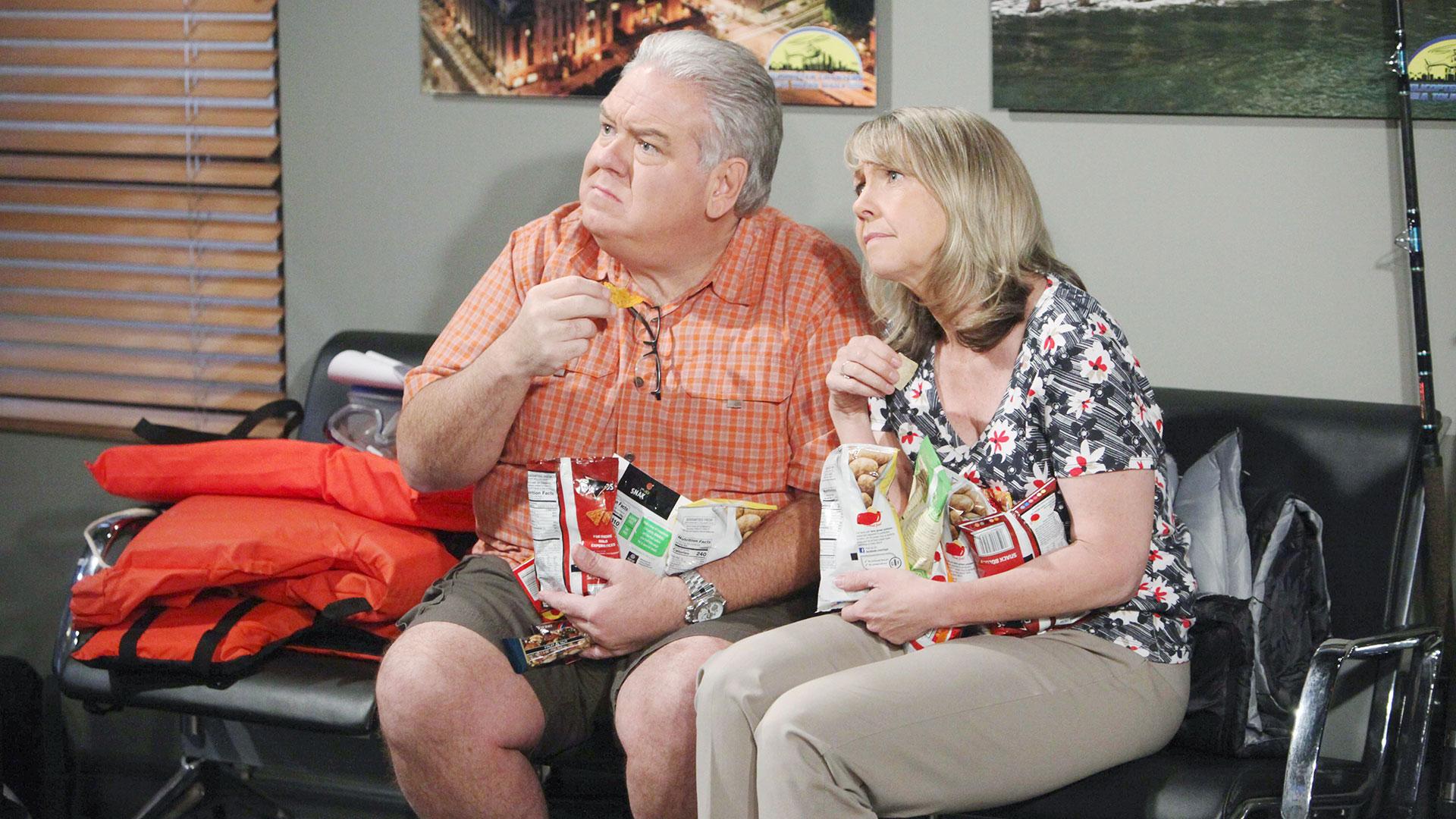 Jim O'Heir and Monica Horan