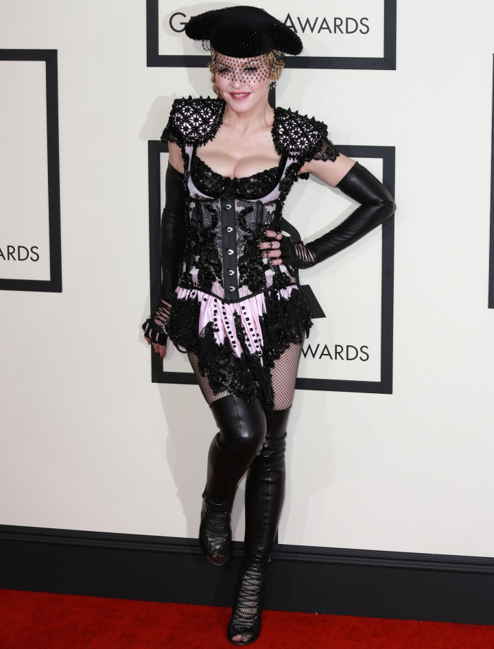 Madonna bared her bum on the 2015 GRAMMY red carpet.