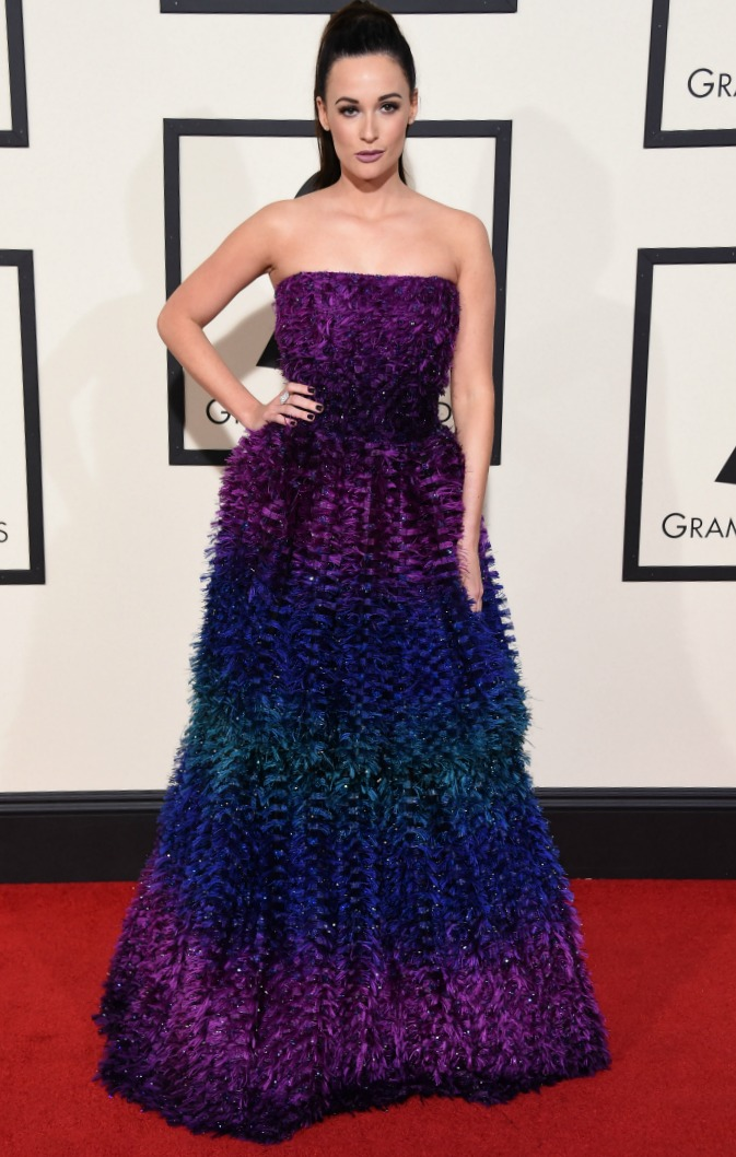 Kacey Musgraves royally rocks the red carpet in a jewel-toned ombre gown.