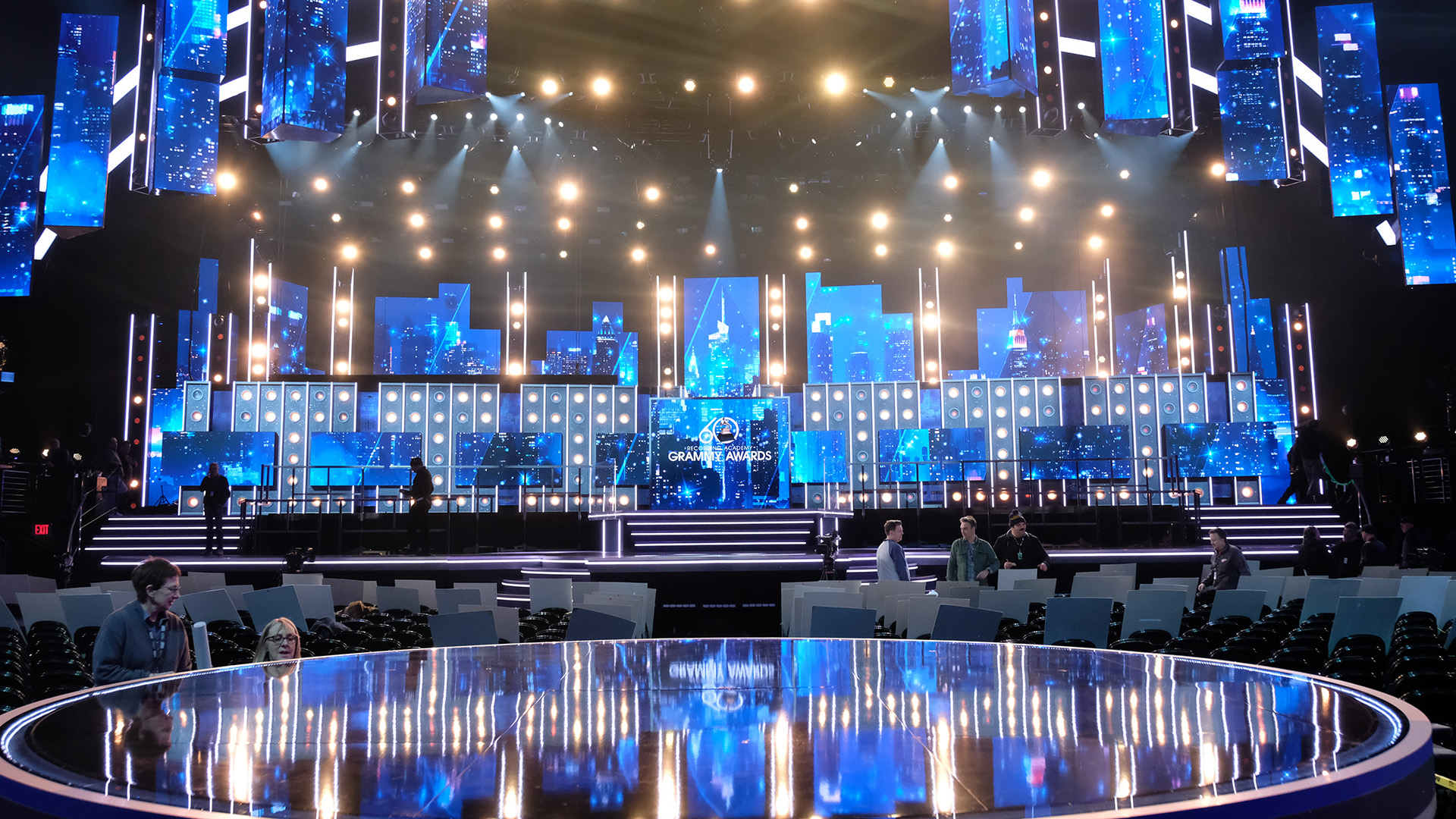 Here's a glimpse of the 60th Annual GRAMMY Awards® stage set up.