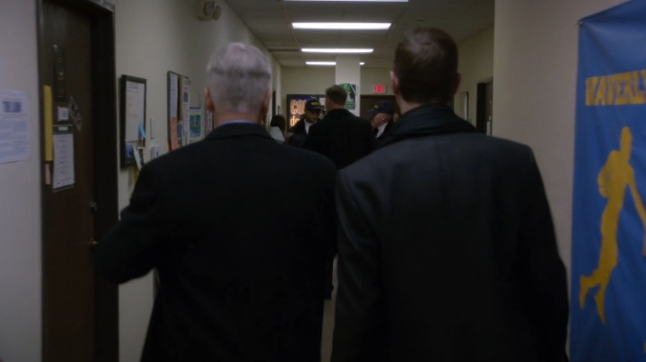 6. NCIS writers' offices stood in for hallway scenes at Waverly University. The office doors of episode writers Matt and Scott Jarrett are seen in the shot.